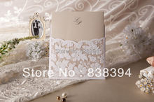 HOT Lovers-style Lace Wedding Invitations Cards With Customize Printing with Rhinestone (Set of 50) Wholesale Free Shipping