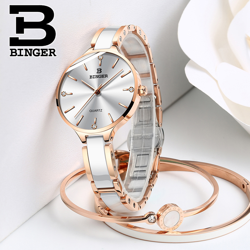 Image 3 - Switzerland Binger Ceramic Quartz Watch Women Casual Luxury Brand Wristwatches Gift Bracelet Relogio Feminino Montre Relogio-in Women's Watches from Watches