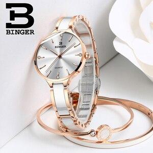 Image 3 - Switzerland Binger Ceramic Quartz Watch Women Casual Luxury Brand Wristwatches Gift Bracelet Relogio Feminino Montre Relogio