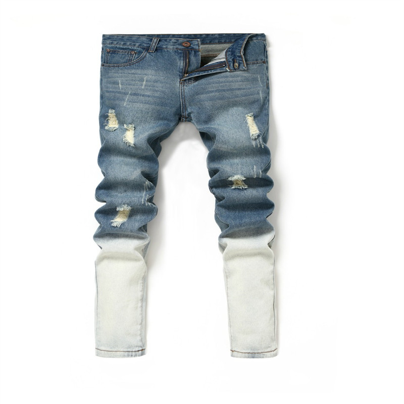 ФОТО Selling Brand Mens Jeans Straight Ripped Jeans For Men Zipper Fly Denim Jeans Men Fashion Designer Pants Blue Jeans Homme 28-36
