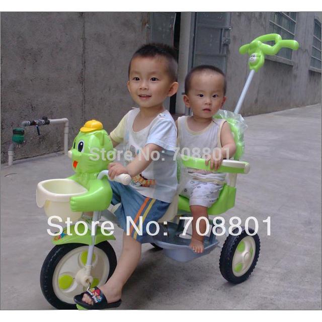 Tandem Trike triciclo gêmeos triciclo assento duplo, estrutura de aço e plástico parte, verde e azul da cor disponível