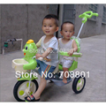 Tandem Trike triciclo twins triciclo asiento doble, marco de acero y piezas de plástico, verde y azul colores disponibles