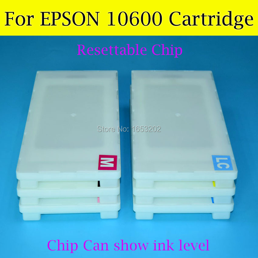 500ML X 6 Color Empty Ink Cartridge T5491-T5496 For Epson 10600 Printer With Show Ink Level Resettable Chip