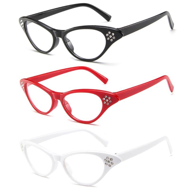 Brillenrahmen Cat Eye Optische Gläser Strass Dekoration Vintage Transparent Persönlichkeit Retro Mode Frauen Weibliche Für Myopie Objektiv Mild And Mellow Damenbrillen