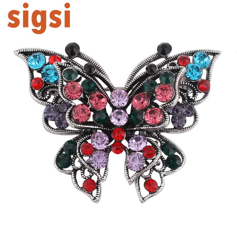 Hot selling multicolour 45mm *60mm rhinestone butterfly brooch animal safety pin woman jewelry accessories broach