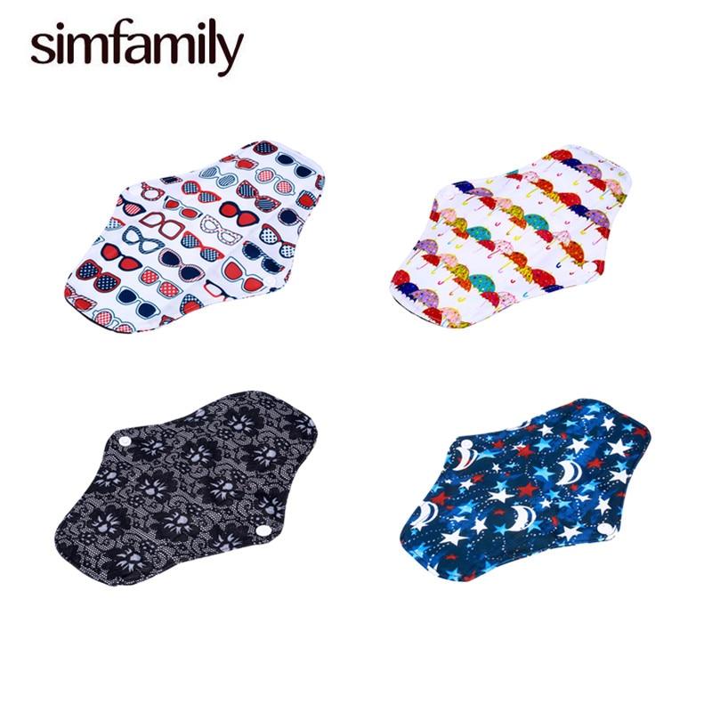 [simfamily] 10PC Regular Flow Charcoal Bamboo Maternity Mama Pads Reusable Washable Cloth Menstrual Sanitary Colorful Health Pad