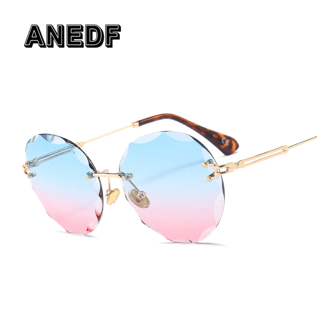 2af3d890db ANEDF 2018 Luxury Transparent Gradient Rimless Sunglasses Women Brand  Designer Sun Glasses Retro Gradient Shades UV400 Eyewear