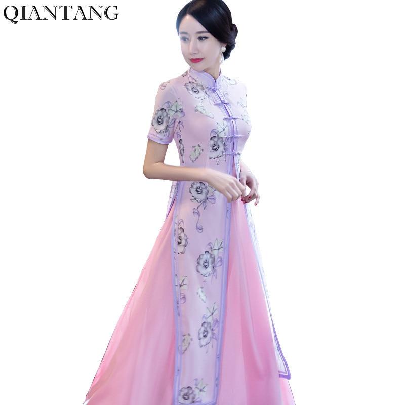 Mode Chinese Stijl Lange Cheongsam Nieuwe Aankomst vrouwen Rayon Jurk Elegante Qipao Vestidos Maat SML XL XXL XXXL 1275685-in Jurken van Dames Kleding op  Groep 1
