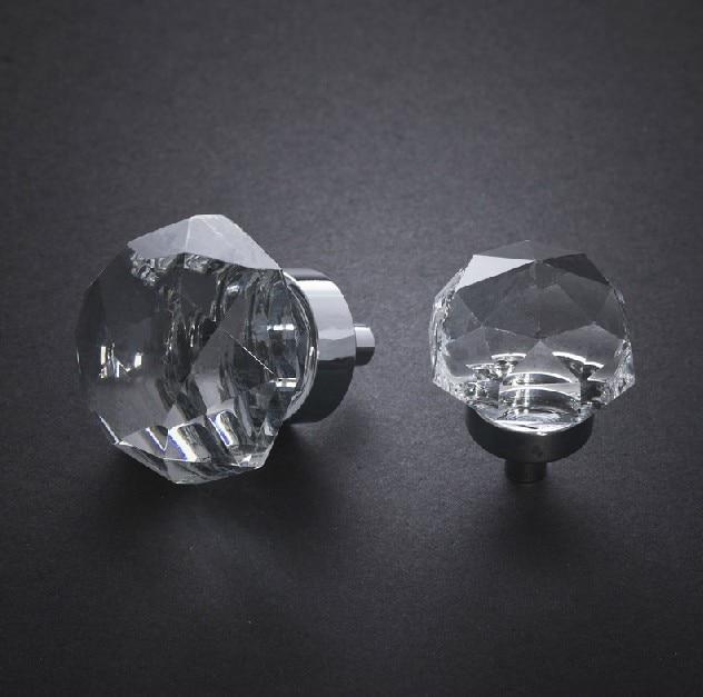10Pcs 35mm Zinc alloy clear crystal sparkle glass kitchen ...