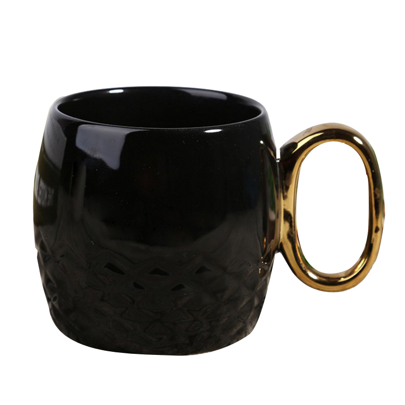 Creative Ceramic Coffee Mug With Gold Handle Glossy