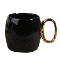 Creative Keramische Mok met Goud Handvat Glossy Porselein Thee Cup zwart-wit kleur