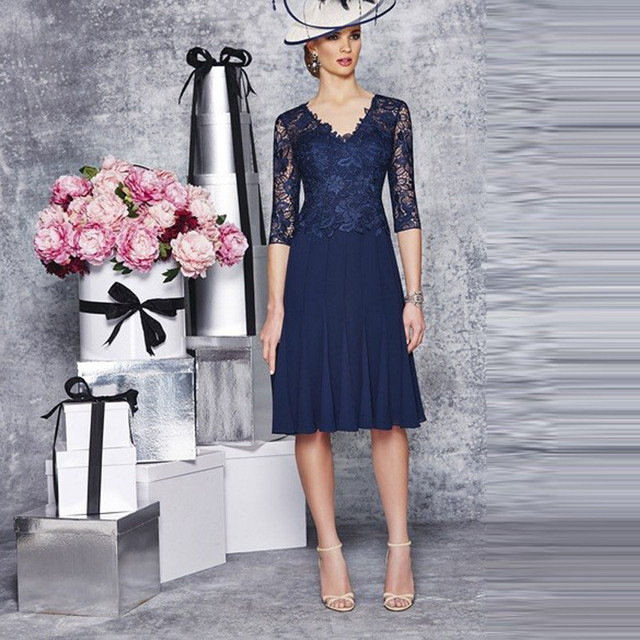 Navy Blue Mother of the Bride Dress Half Sleeve Lace Applique ...