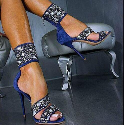 2017 European sexy blue suede high heel diamond ladies sandals nightclub shallow mouth open toe cover heel woman sandals
