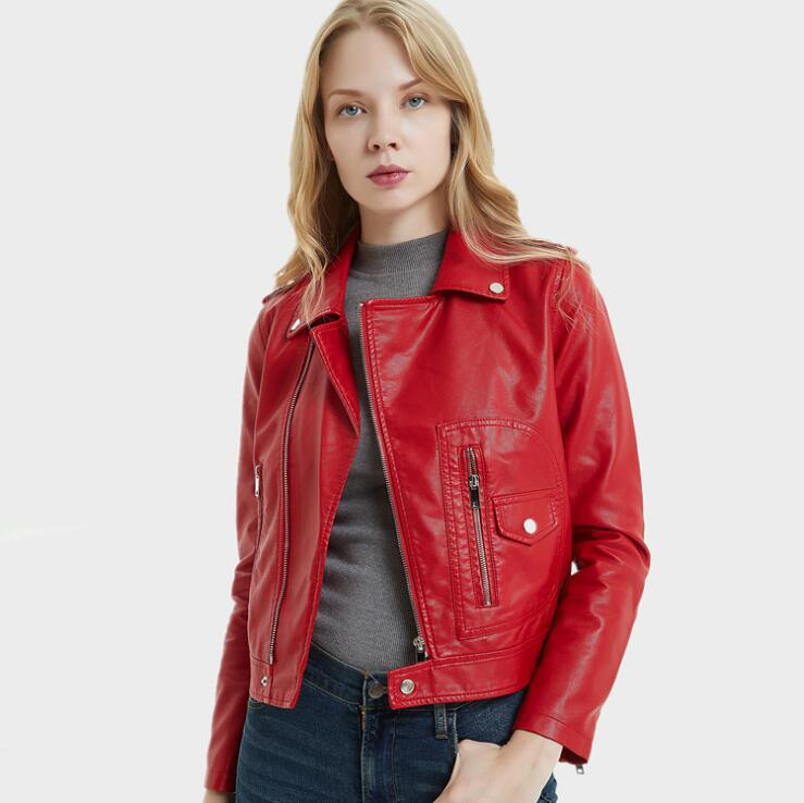 Fashion Women Casual Motorcycle PU   Leather   Spring Autumn Jackets E0420-005