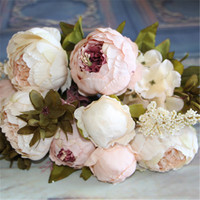 Artificial Flowers Silk Flower European Fall Vivid Peony Fake Leaf Wedding Home Party Decoration 9454