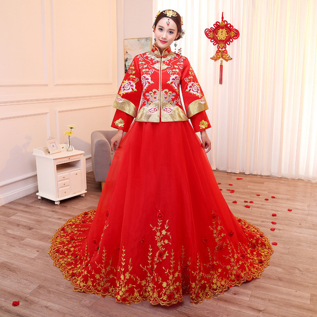 Buy chinese traditional wedding dress for Asian red wedding dresses