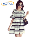 Hot Sale 2016 Summer New Arrival Maternity Casual Dress Soft Ultra Thin Fashion Stripes Short Sleeves Clothes For Pregnant Women