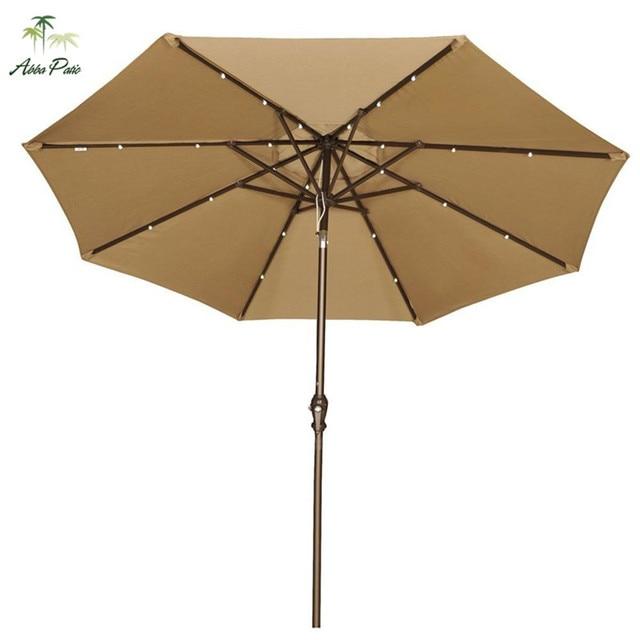 Abba Patio 9u0027 Round Aluminum Solar Powered 24 LED Light Patio Umbrella With  Tilt And