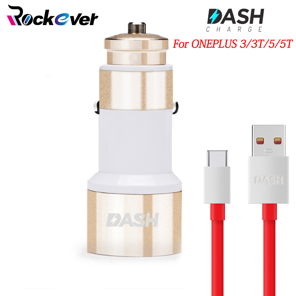 Rockever Dash Car Charger 5V/4A USB Quick Charger Adapter 100CM USB Fast Charging Dash Cable For Oneplus 3 3T 5 5T 6 Original