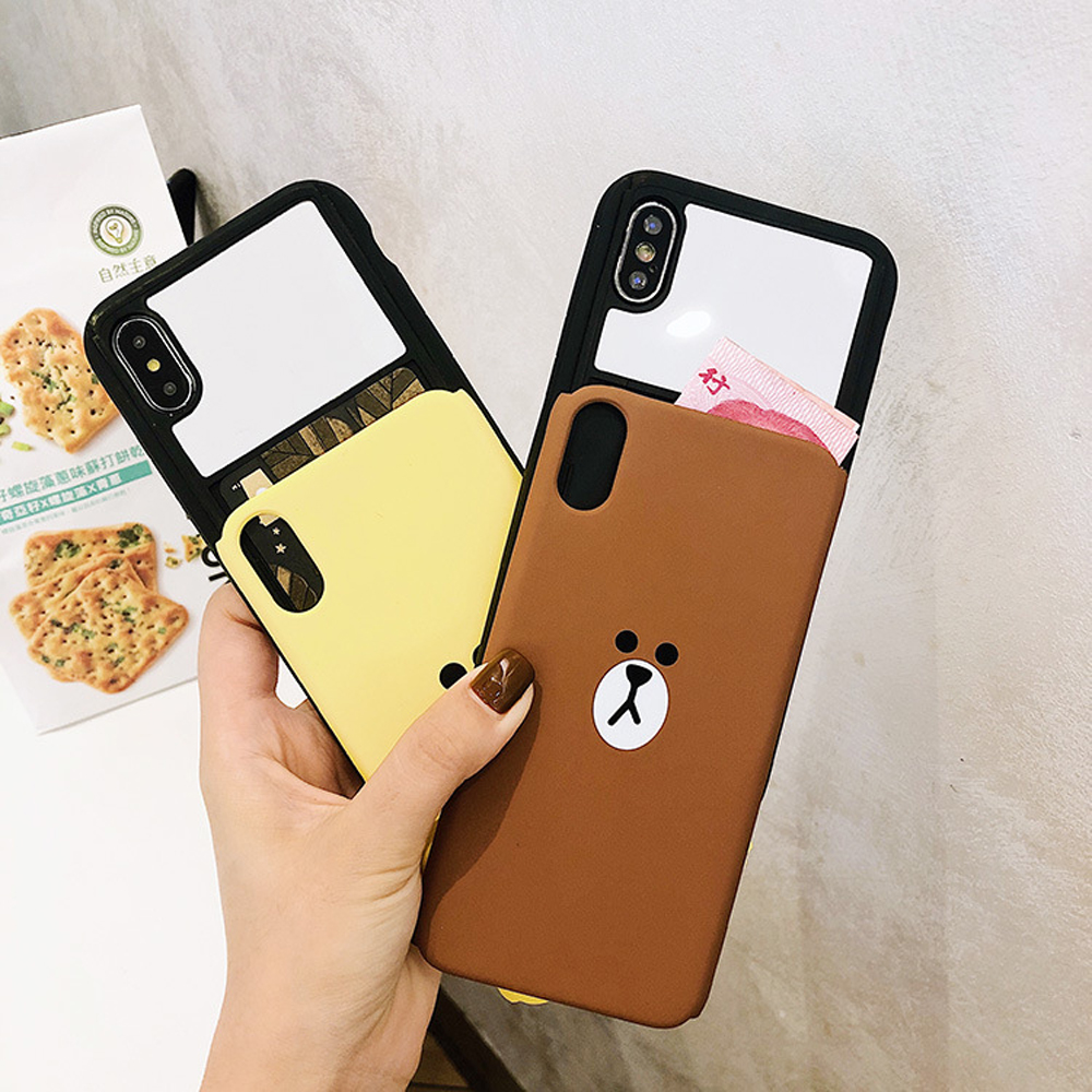 Slide-Phone-Cases-For-iPhone-6-6s-Plus-7-8-X-Xs-Brown-Bear-Make-Up-Mirror-Card-Slot-Silicone-Shockproof-Cute-Cartoon-Covers-SJ15- (10)
