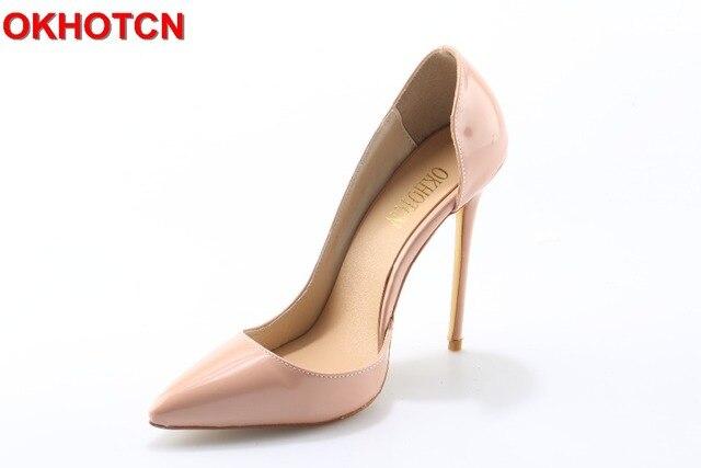 cce6c65b Moda Sexy Delgado tacón alto boda fiesta zapatos mujer lado abierto punta  puntiaguda charol mujeres bombas