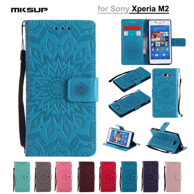 Luxury PU Leather Case Flip Cover For Sony Xperia M2 Xperia M2 Aqua S50H D2302 D2303 D2305 D2306 Sunflower Embossing Phone Cases
