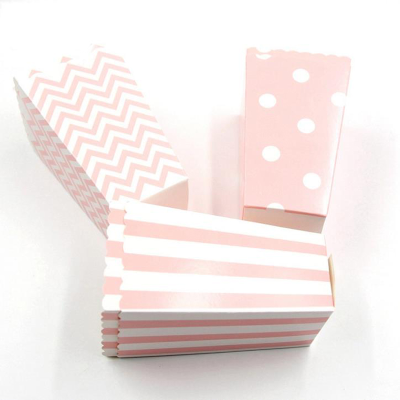 6 Pcs Kawaii Pink Blue Stripe Wave Dot Paper Popcorn Boxes Bag Birthday Party Decorations Kids Baby Shower Party Supplies