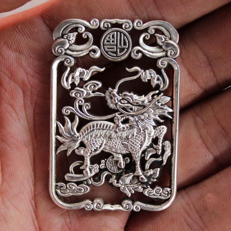 Chinese tibet Silver dispel evil Unicorn divine beast statue amulet necklace pendant metal handicraft giftChinese tibet Silver dispel evil Unicorn divine beast statue amulet necklace pendant metal handicraft gift