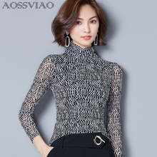 GRANBELLA famous 2018 women crystal Blouses sexy lace beads autumn winter top and