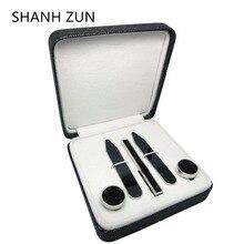 SHANH ZUN Classic Metal Stainless Steel Cufflinks & Tie Clip & Collar Stays Black Gun Gift Set for Men Dress Shirt