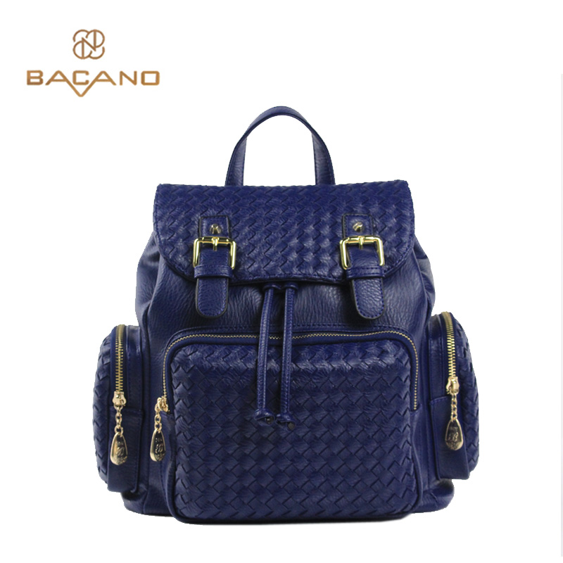 ФОТО Bacano Preppy Style Women Backpack Weave Bags Sapphire Microfiber Synthetic Leather High Quality School Bags For Teenager Girls