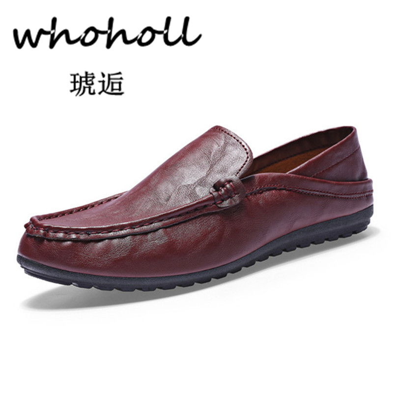 Whoholl White Handmade Genuine Leather Men's Loafer Casual Shoes Soft Breathable Slip on Driving Flats Shoes Four Seasons Design handmade mens dress shoes italian leather studded flats loafer shoes men casual shoes fashion spiked loafer 35 46