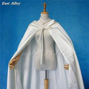 Image 3 - Ivory Cloak Hooded Satin Wedding Cloak Cape Costume Renaissance Medieval Clothing Fairy Adult