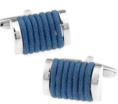 Free Shipping Novelty Cuff Links Blue Color Copper String Design Best Gift For Men Cuff Links Wholesale&retail