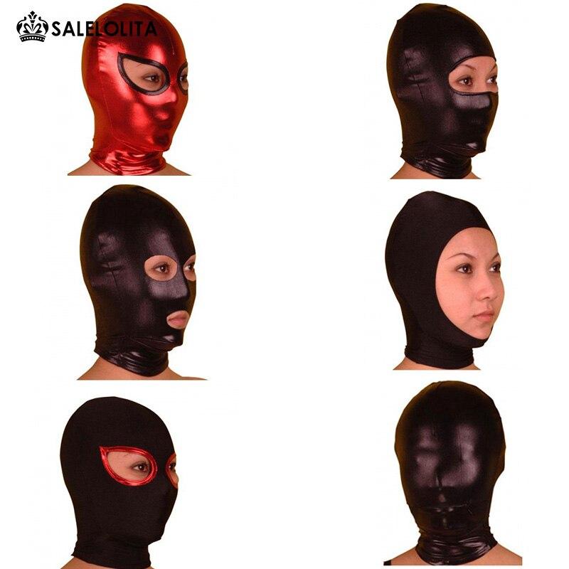 Hot Sale Halloween Funny Shiny Metallic Zentai Hood Unisex Mask chifres malevola png