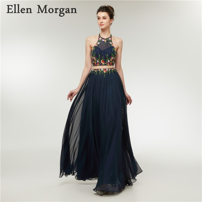 Navy Blue Chiffon 2 Pieces Prom Dresses for Women Wear