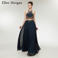 Navy Blue Chiffon 2 Pieces Prom Dresses for Women Wear 2018 Sale Sexy Embroidery Long Vestido De Festa for Formal Party Gowns