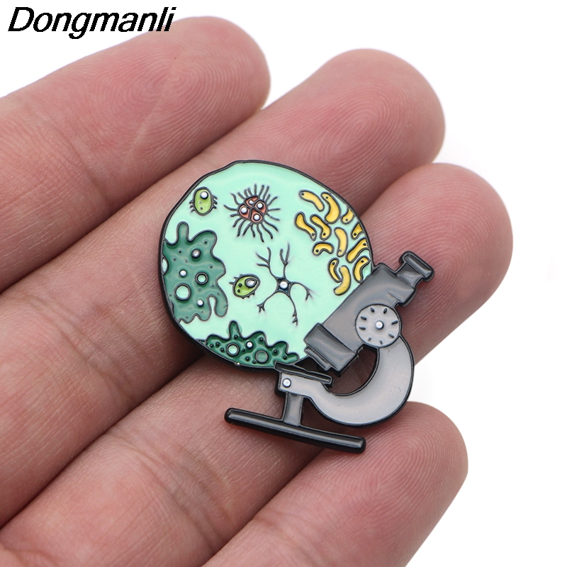 P3608 Dongmanli bacterial Microscope Metal Enamel Pins and Brooches for Women Doctors Lapel Pin Medical Badge Gifts in Brooches from Jewelry Accessories