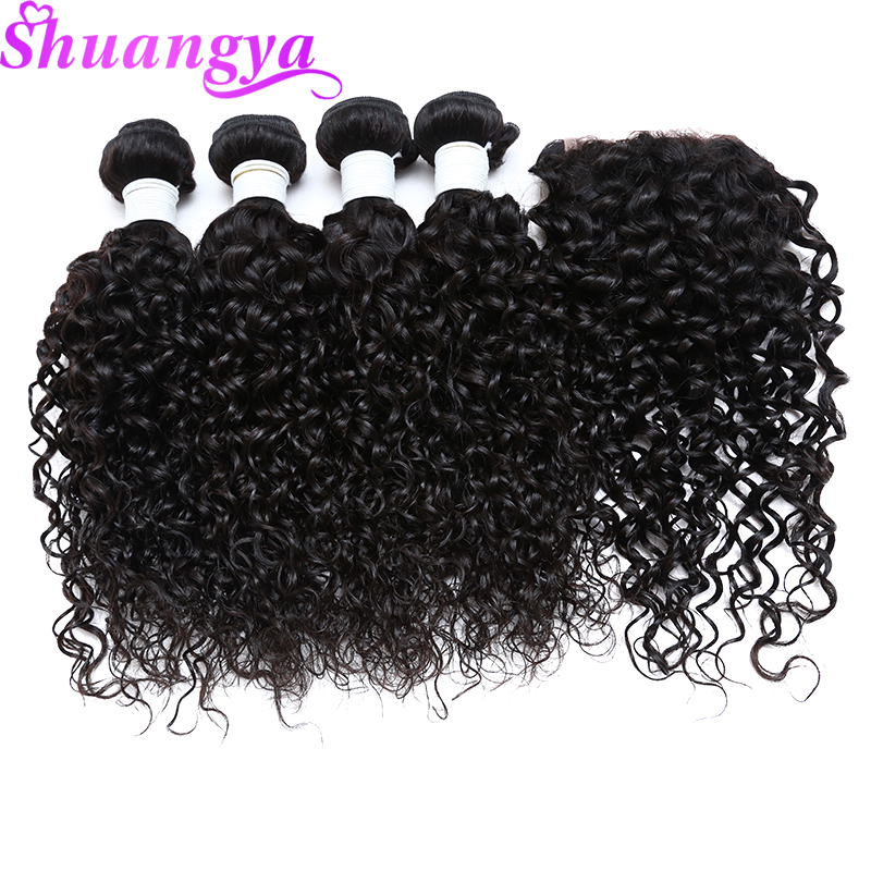 4 5 Pcs Lot Peruvian Water Wave 100 Human Hair With 4 4 Inch Lace Closure