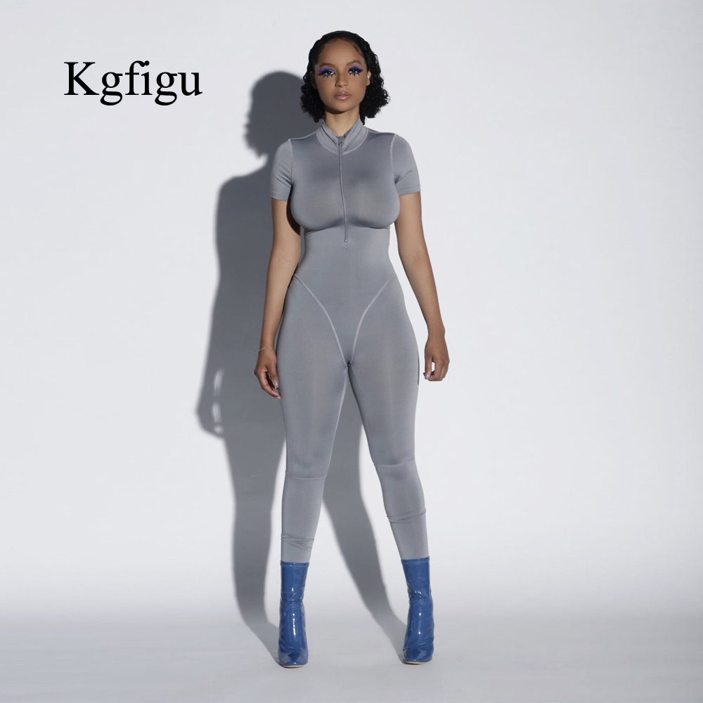 KGFIGU Women rompers womens   jumpsuit   women clothes 2019 summer short sleeve mono mujer largo elegante solid gray streetwear