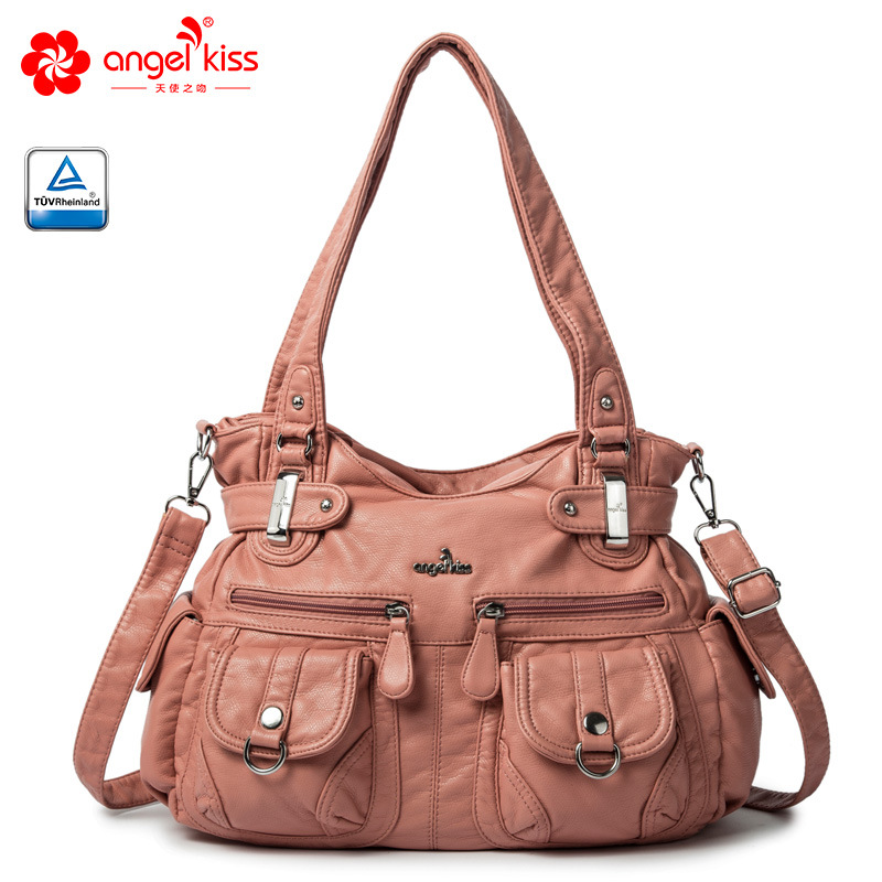 Angel Kiss Brand Skin-friendly Top Handle Satchel Shoulder Bag Washed PU Leather Tote Handbag Women Wallet Purse