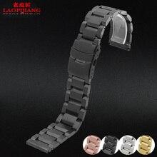 Laopijiang 18mm, 20mm 22mm 24mm NUEVA pulsera de acero inoxidable pulseras de acero de PLATA PARA HOMBRE pesado sólido duo veer bloqueo de fecha