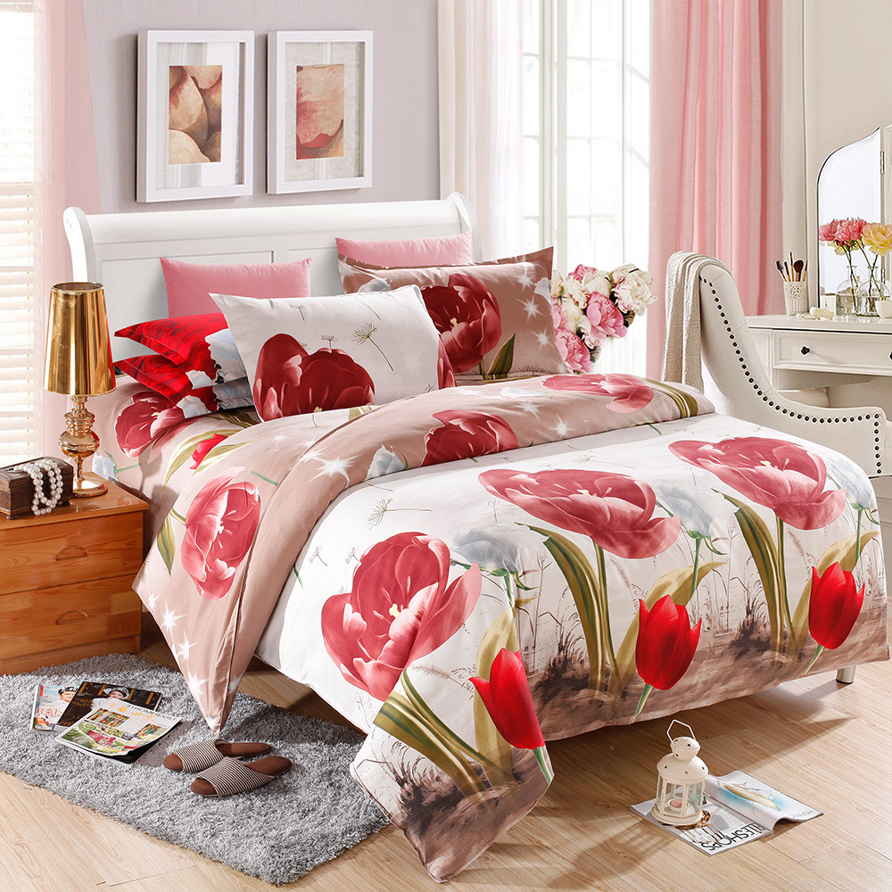 Bed sheet set with quilt - Duvet Cover Queen King Size 4pcs 3d Printed Bedding Set Tulip Flower Pattern Bedclothes Quilt Cover Bed Sheet 2 Pillowcases