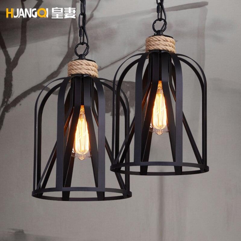 Fer américain rétro Droplight lustre Bar café vêtements magasin salle à manger lampe lampara De Techo Colgante