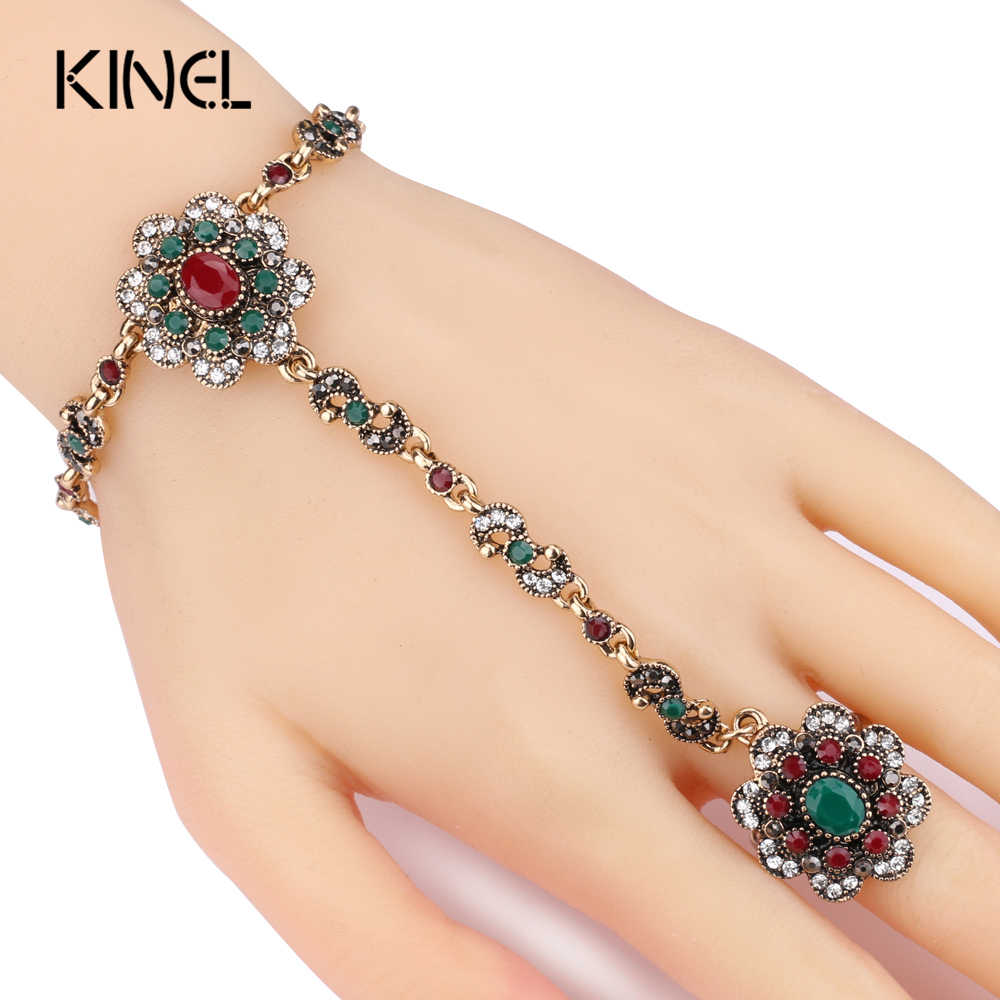 Kinel Dubai Jewelry Sets Bracelet Link Rings For Women Antique Gold Color Colorful Resin Crystal Flower Bracelet And Open Ring