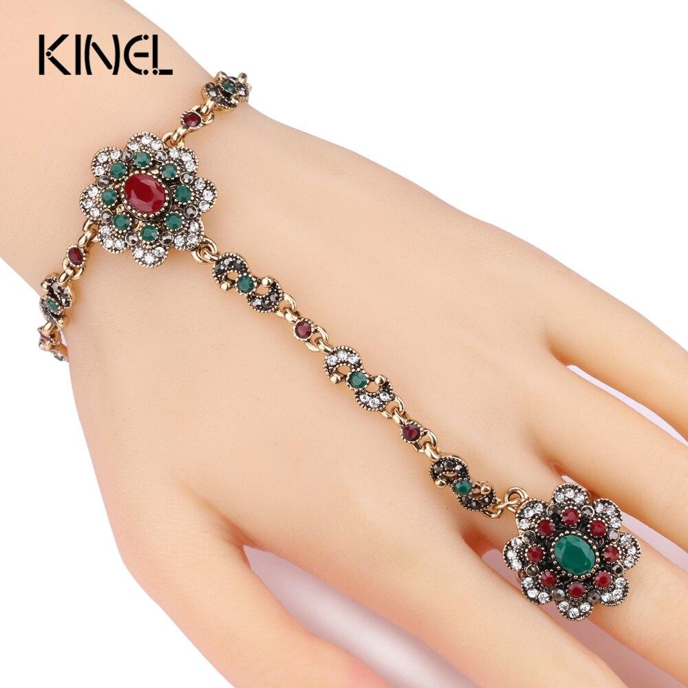 Kinel Dubai Jewelry Sets Bracelet Link Rings For Women Antique Gold Color Colorful Resin Crystal Flower Bracelet And Open Ring