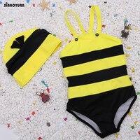 2018 Stroje Kąpielowe Bikini Bee Modelowania damski Kostium Kąpielowy Strój Kąpielowy Dla Dzieci Baby Girl Kid Z Cap Cover up