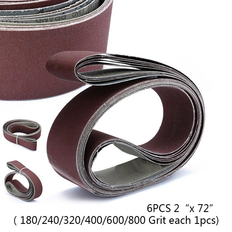 Joli ceinture de ponçage abrasif, 6 pièces/ensemble 2X72, bandes en papier de sable, T, fournitures d'outils pour la maison, accessoires de Machine à poncer