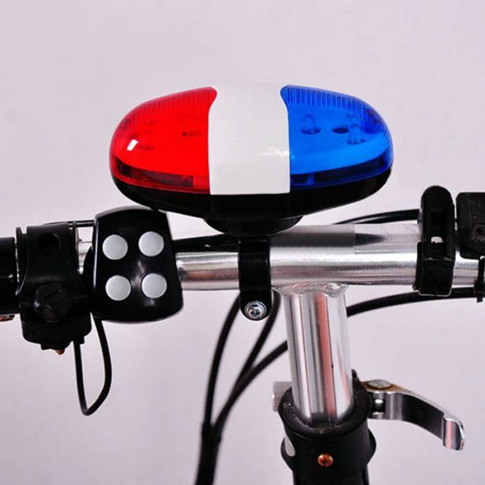Bike Bicycle Cycling 4 Sounds LED Police Car Siren Electric Light Horn Bell G8