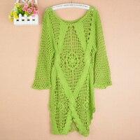 Nieuwe mode lente Herfst Nieuwe Mode Handgemaakte hollowout gebreide trui lange stijl big size Womens Trui Wit Zwart 1311 #